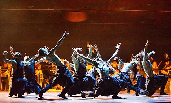 Dancers from Hofesh Schechter Company as Furies in Orphée et Eurydice (photo: Tristram Kenton)
